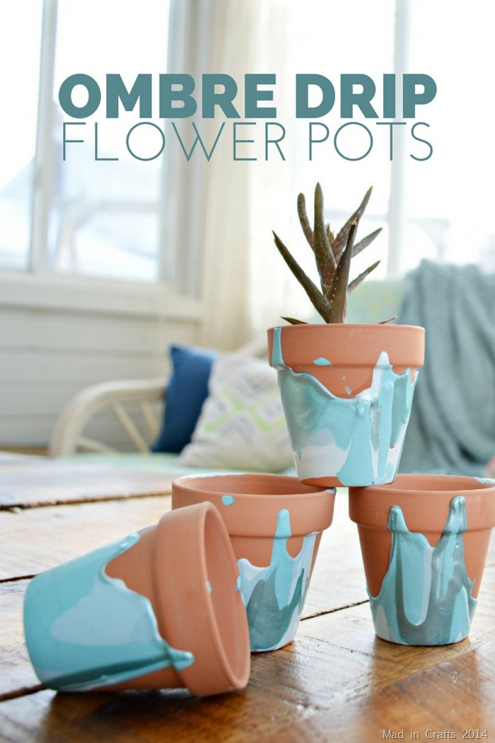 Ombre drip paint flower pot