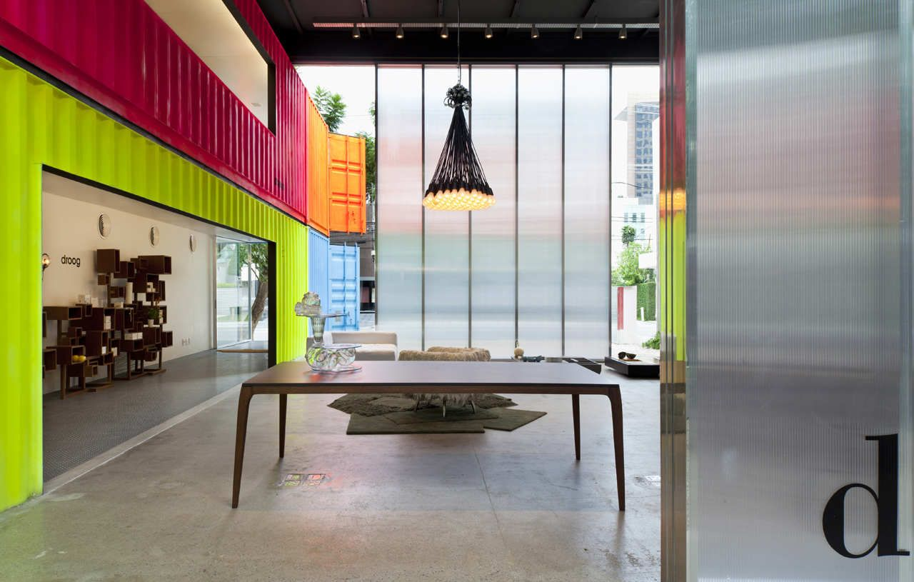 Painted Shipping Containers Decameron Marcio Kogan Dining Lighting