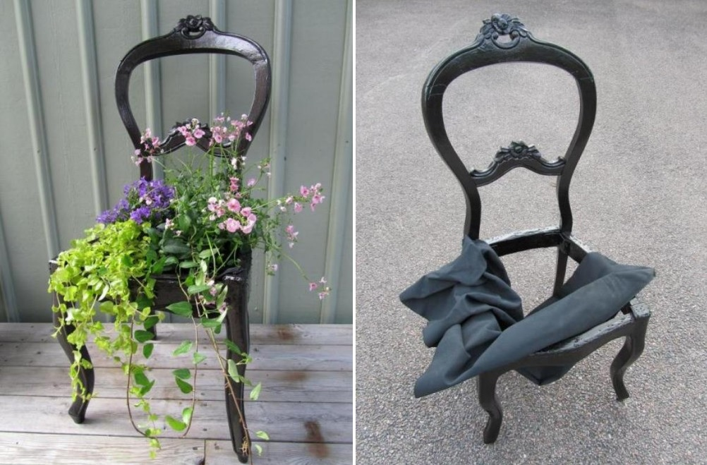 Planter made form an old chair