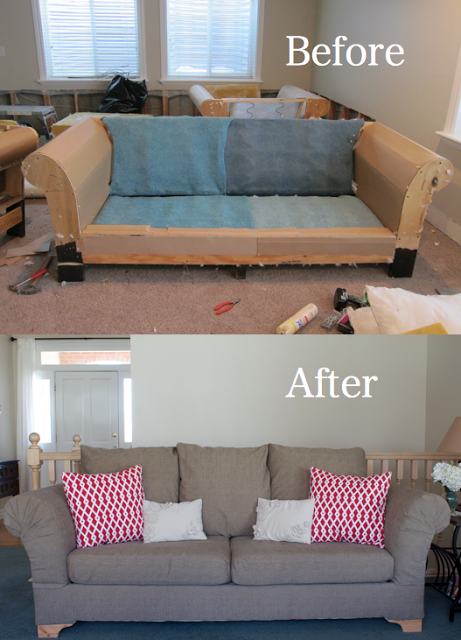 Reupholster couch before and after