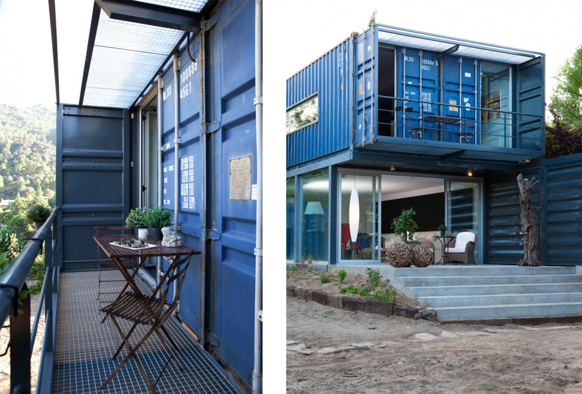 Shipping Container House In El Tiemblo Balcony