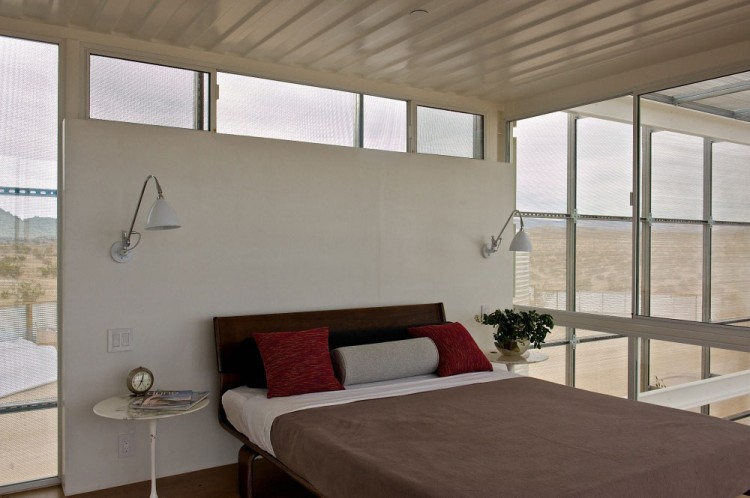 Shipping Container House in Mojave Desert by Ecotech Design Bedroom Bed