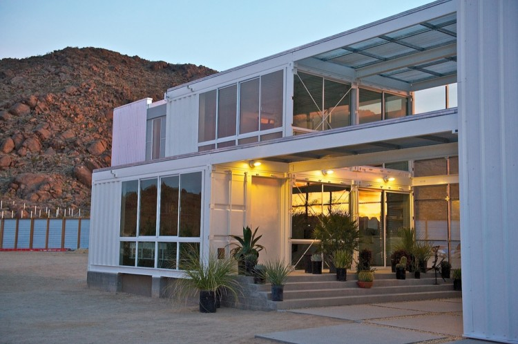 Shipping Container House In Mojave Desert By Ecotech Design Night