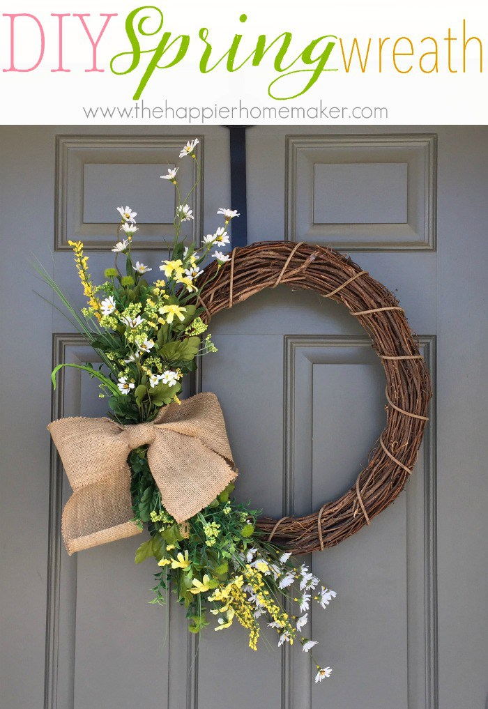 spring wreath to decorate the front door