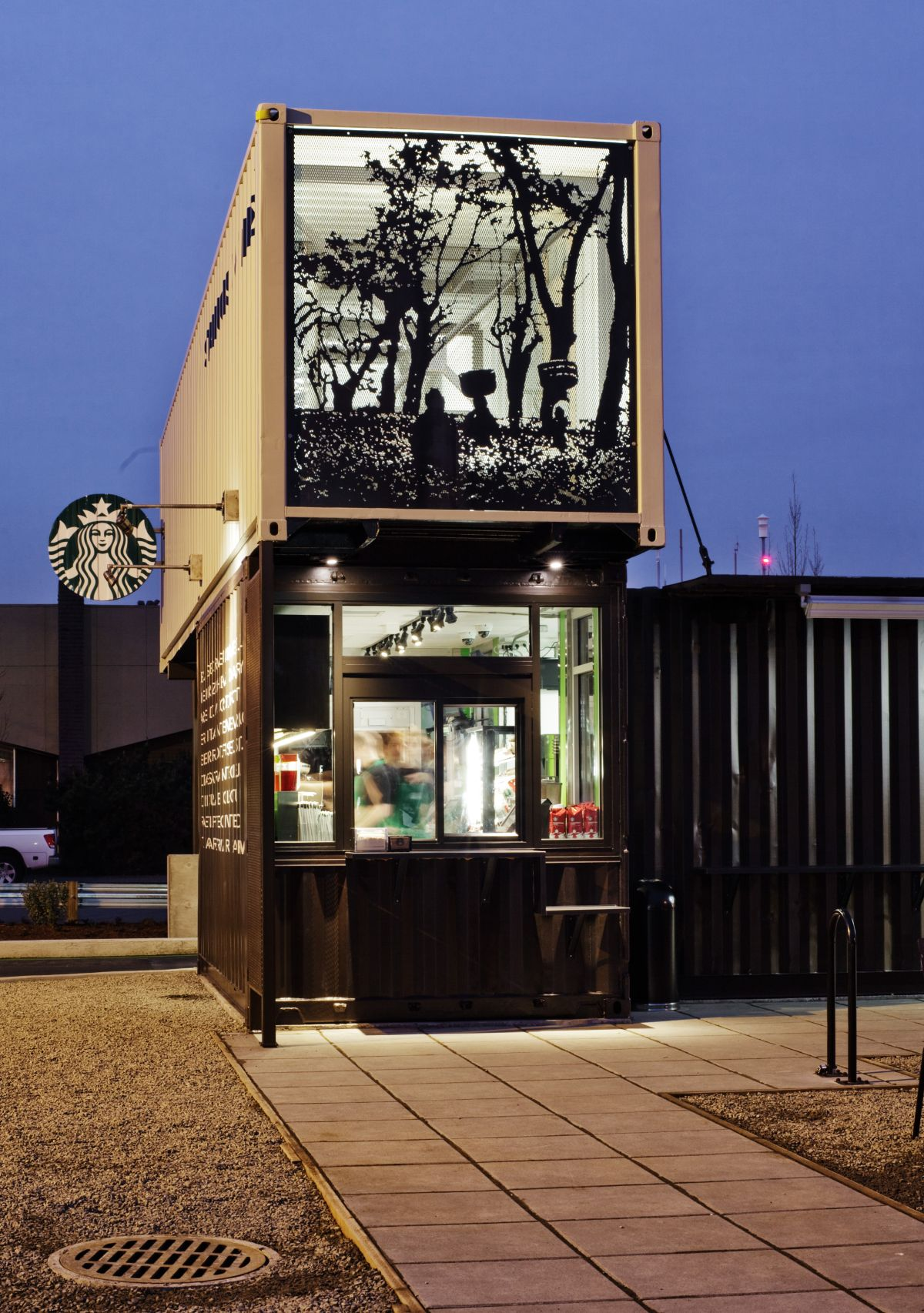House design with shop - Starbucks Coffee Shop Made From Shipping Containers Design