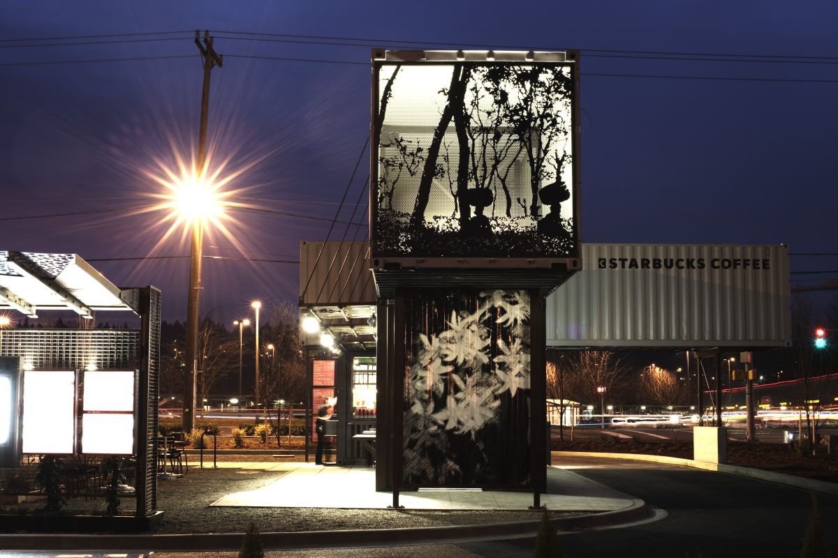 Starbucks Coffee Shop Made From Shipping Containers Night