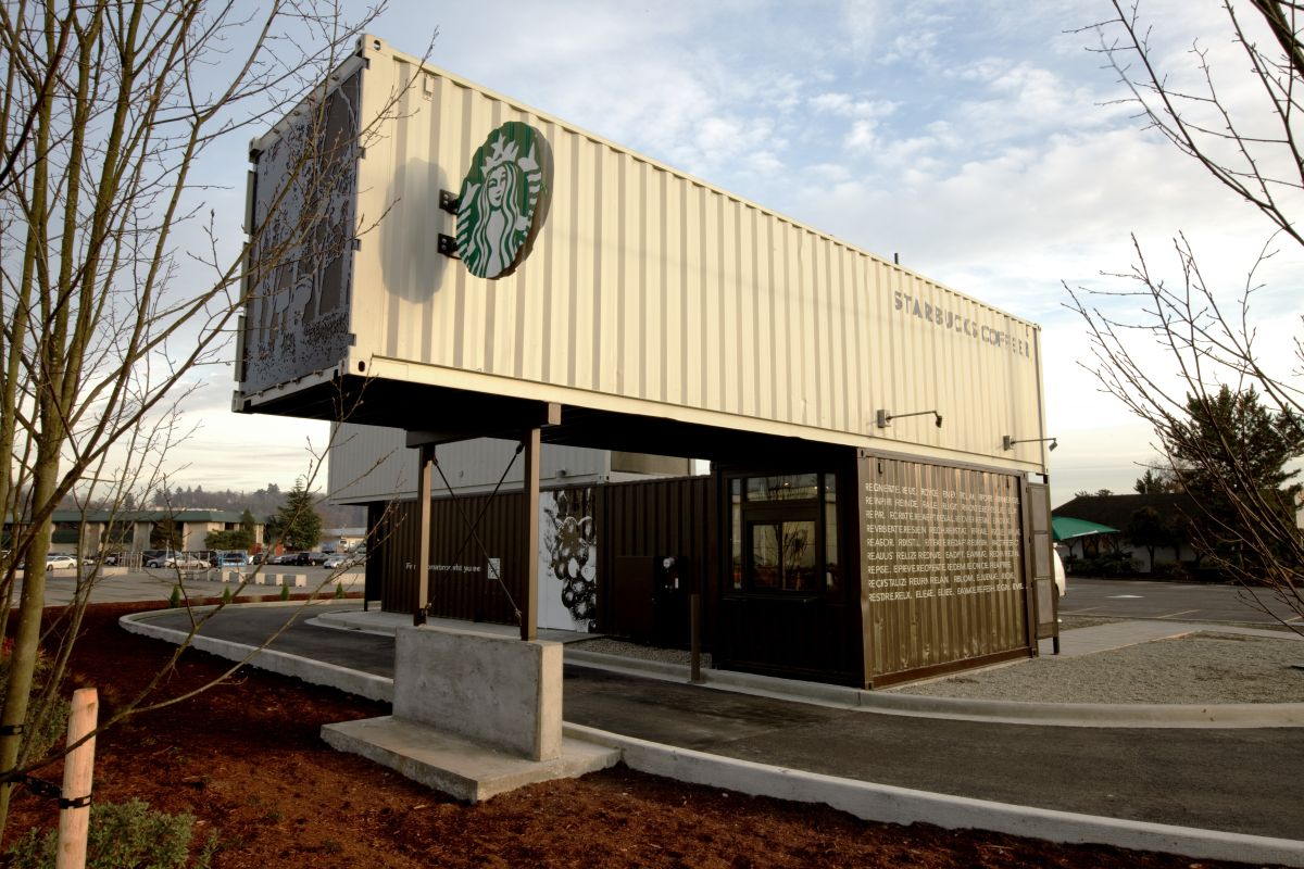 Starbucks Coffee Shop Made From Shipping Containers