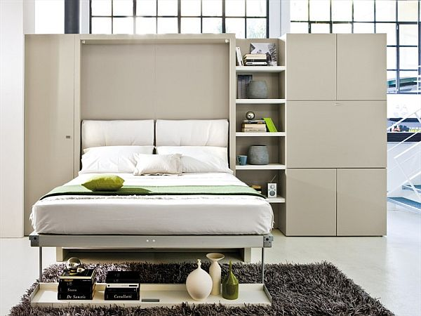 Storage Wall With Pull Down Double Bed