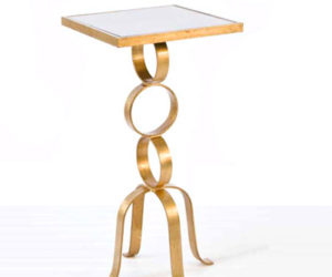 Worlds Away Antonio 3-Ring Gold Leaf Side Table