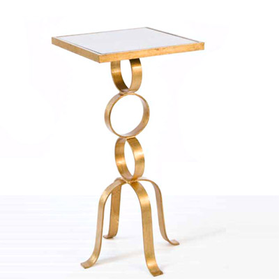 Awesome Worlds Away Antonio 3 Ring Gold Leaf Side Table