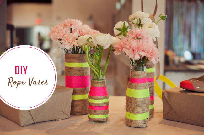 Wrapped rop vase with neon