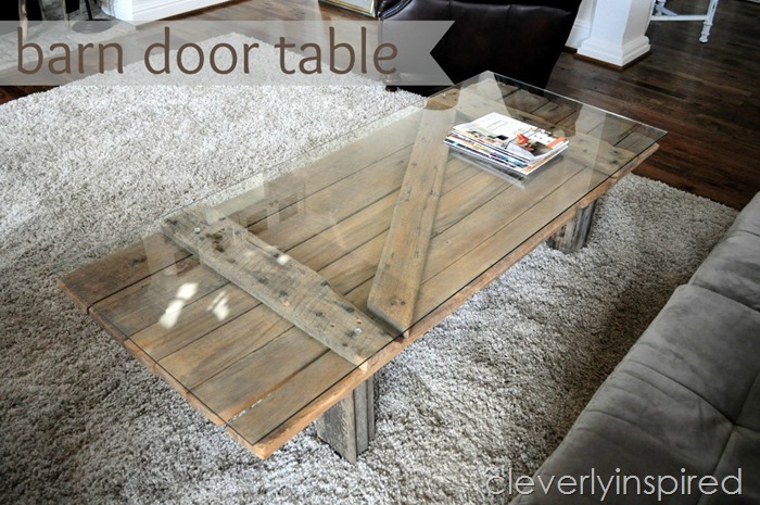 barn door table with glass on top