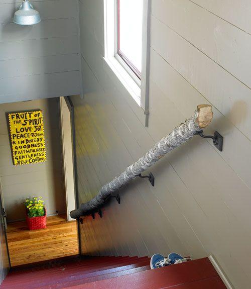 birch tree stair railing