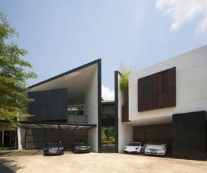Artistic black and white residence in Singapore