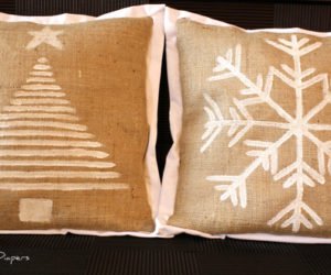 DIY Holliday-themed burlap pillows