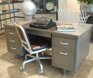 Refinished Vintage Steel Tanker Desk