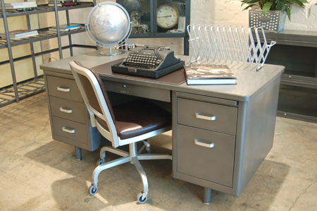 Refinished Vintage Steel Tanker Desk