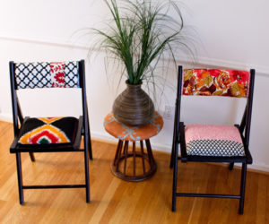 Colorfully upholstered folding chairs