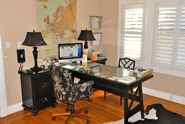16 home office desk ideas for two for Where to buy desks for home office