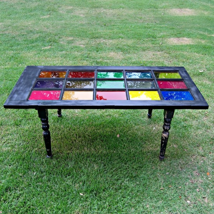 glass repurposee door into a table