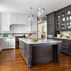 Beautiful Wood Floors In The Kitchen - Grey kitchen cabinets with wood floors