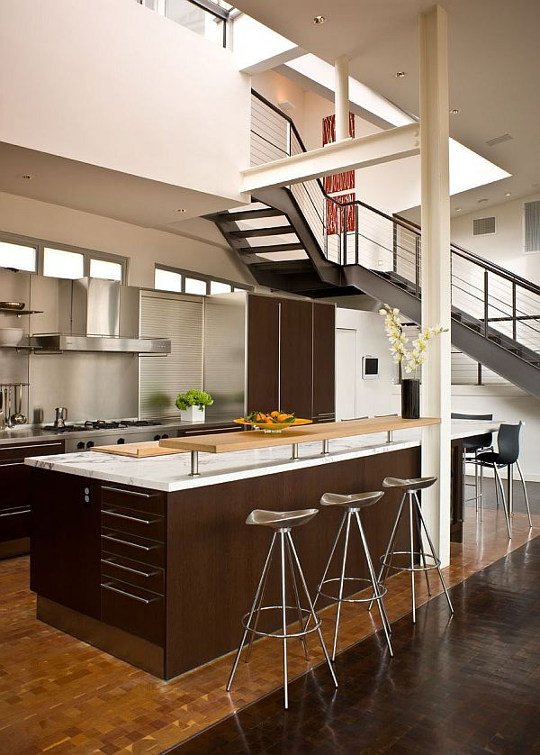 Loft living interior design ideas for Attic kitchen designs