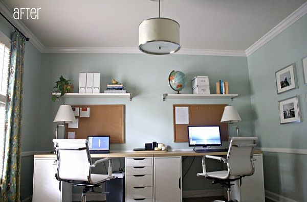 view in gallery - Modern Home Office For Two