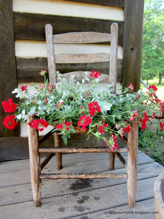 old chair turned into a planter