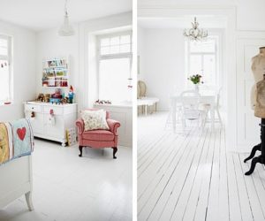 Scandinavian 1910 house featuring a white floor