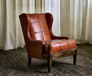 Royal chair with Tomato Leather and Limestone Leather piping