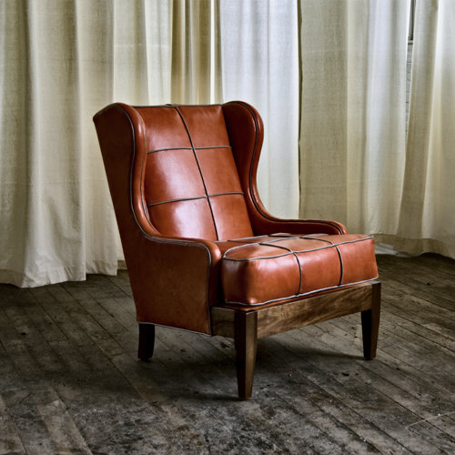 Wonderful Royal Chair With Tomato Leather And Limestone Leather Piping