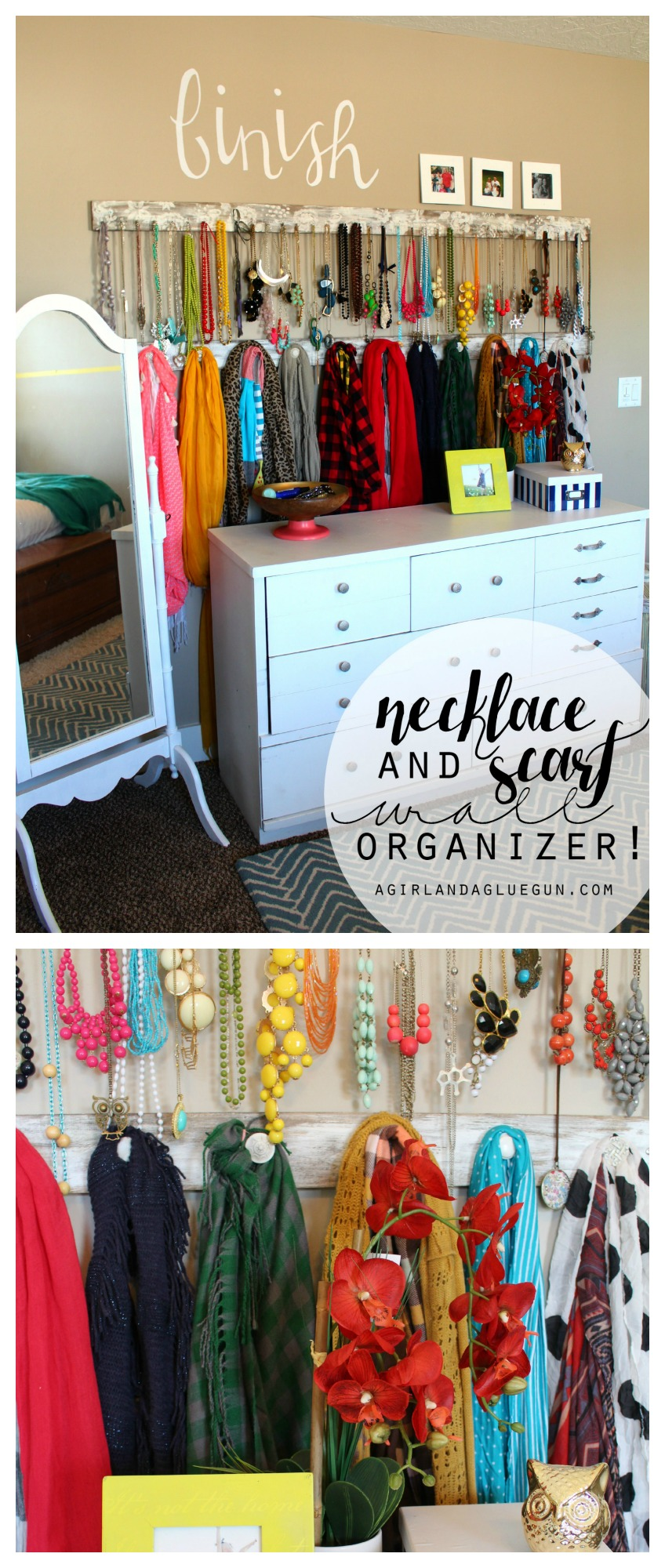 organizer for scarves using a piece of wood