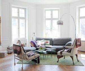 Stylish and colorful Swedish home