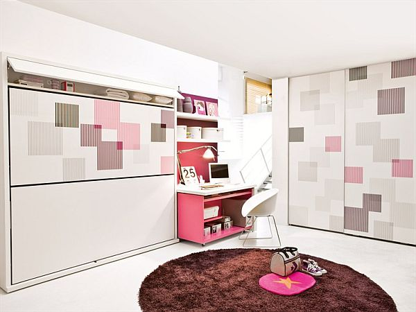 Space saving teenage bedroom for girls for Space saver bedroom designs