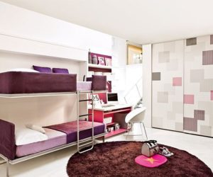 Space saving teenage bedroom for girls