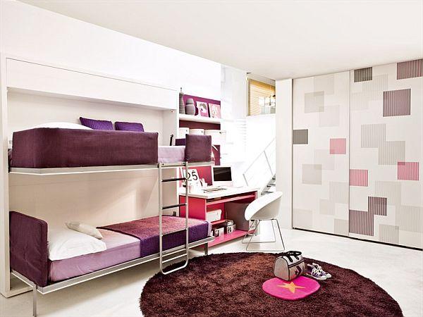 Space saving teenage bedroom for girls - Space saving bedroom furniture ...