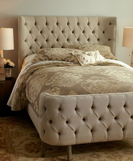 Cream Tufted Linen Larkspur Bed