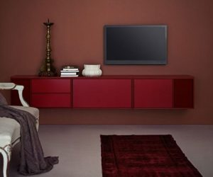 The modular TV HI FI wall-mounted cabinet