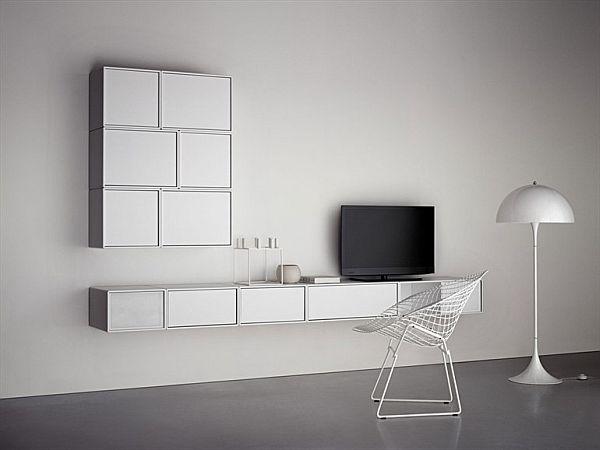 The modular TV HI FI wall-mounted cabinet