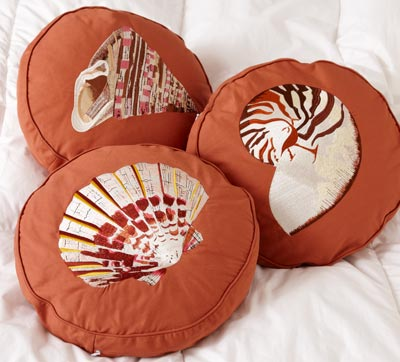 Embroidered Shell Decorative Throw Pillows