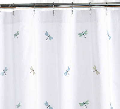 Embroidered Dragonflies Shower Curtain