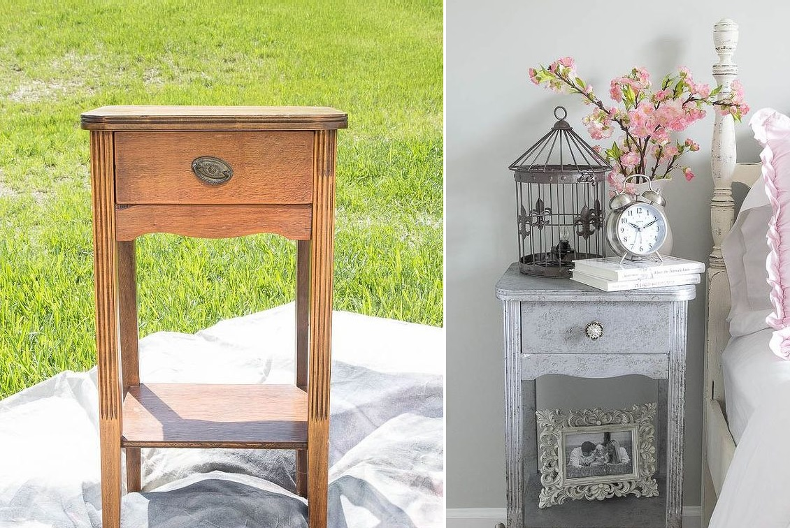 Aged nighstand makeover design