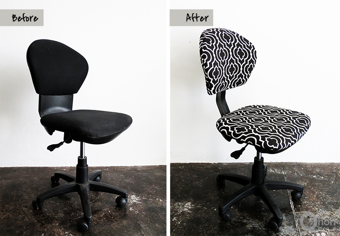 Before and after desk chair