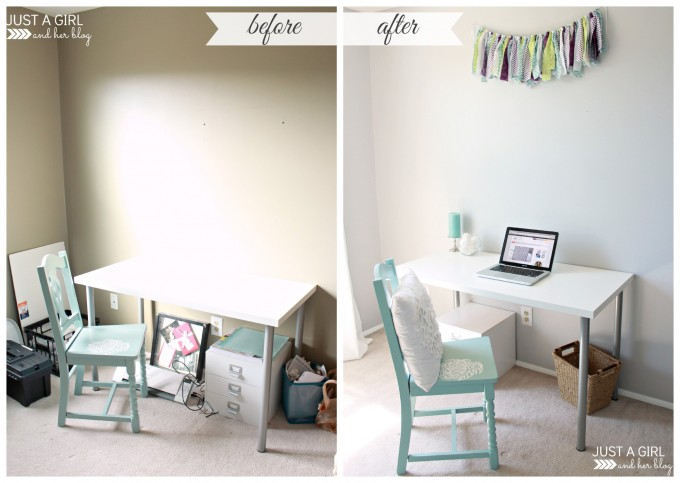 Before and after simple desk makeover