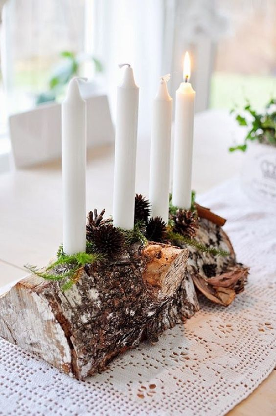 Birch wood candle holder for a natural look