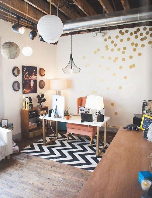 Bohemian room decor with polka dots