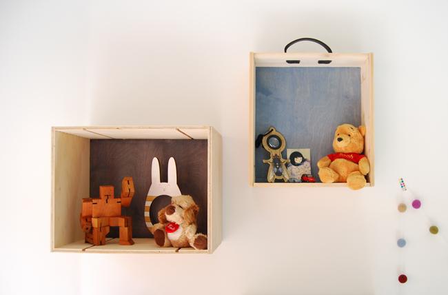 Box shelves on wall