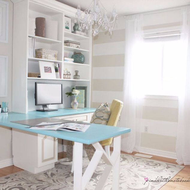 Corner desk with turquoise top