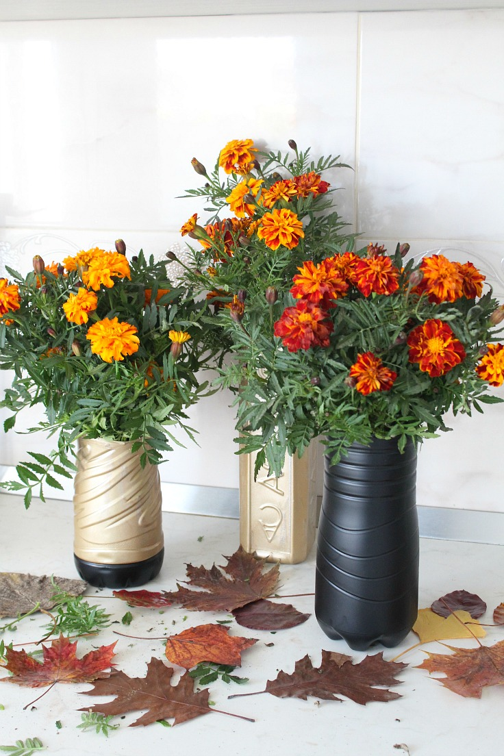 DIY plastic flower vase makeover