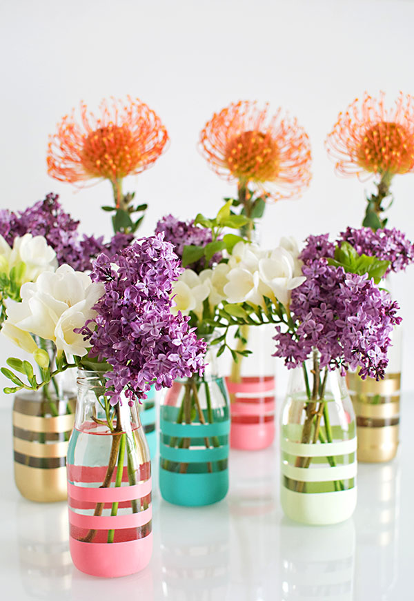 DIY striped painted bottles